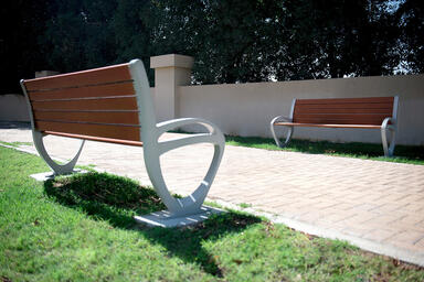 Trio Bench shown at Golf Gardens Residential, Abu Dhabi