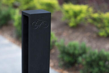 Detail of Capitol Bike Rack shown with Black Texture powdercoat