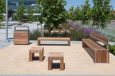 Hudson Benches shown in 6 foot and 8 foot lengths, both in surface mount