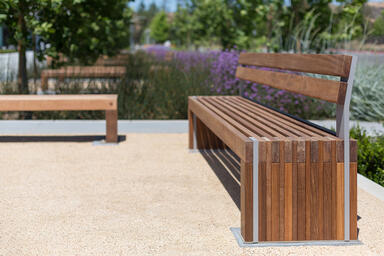 Hudson Bench shown in 8 foot, surface mount configuration with FSC® 100% Ipé
