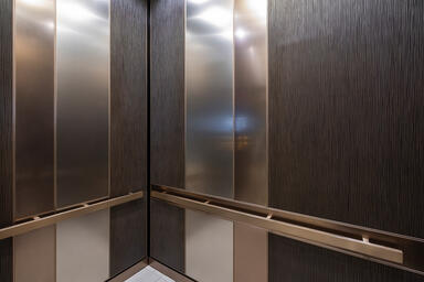 LEVELe-101 Elevator Interior; Capture panels in Bonded Bronze with Dark Patina a