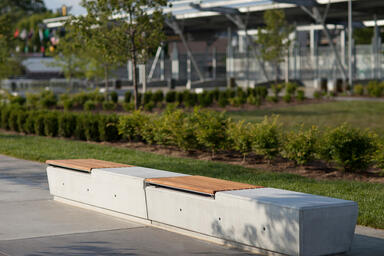 Knight Benches shown in backless configuration with FSC 100% Ipé