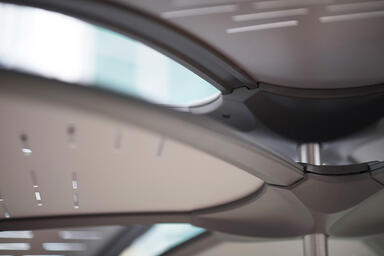 Detail of Soleris Sunshade shown with ArgentoTexture powdercoated panels