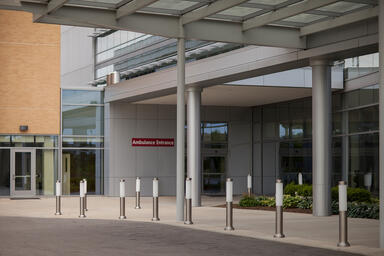 Light Column Bollards shown in Stainless Steel with Satin finish at IU Health