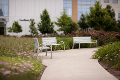 Camber Benches shown in 6 foot configuration with Aluminum Texture