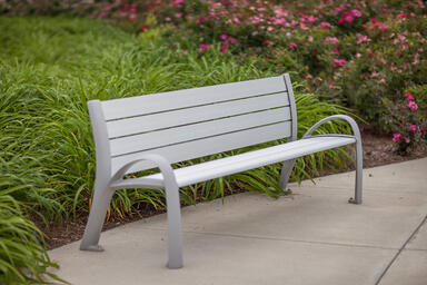 Camber Bench shown in 6 foot configuration with Aluminum Texture