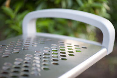Detail of Balance Bench shown in backless configuration with Aluminum Texture