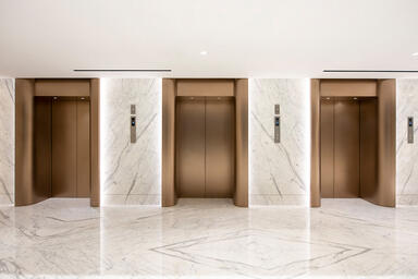 Elevator doors in Fused Nickel Bronze with Seastone finish; elevator jambs in Fu