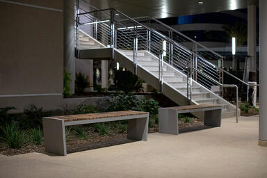 Boardwalk Benches with FSC® Recycled Reclaimed Cumaru hardwood slats and Aluminu
