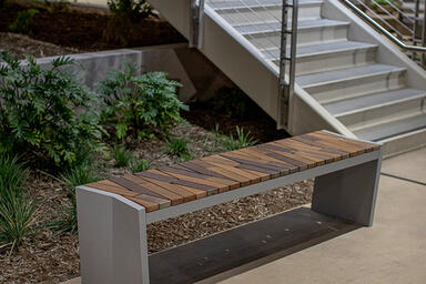 Boardwalk Bench with FSC® Recycled Reclaimed Cumaru hardwood slats and Aluminum