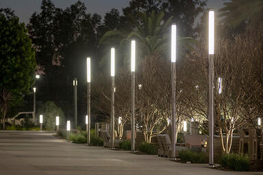 Light Column Pedestrian Lighting, custom height, in Stainless Steel with Satin f
