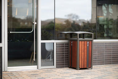 Cordia Litter & Recycling Receptacle shown in single-stream configuration with S