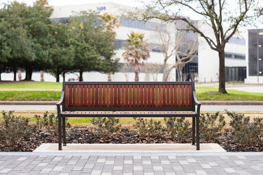 Cordia Bench shown in 6 foot, backed configuration with Slate Texture powderco