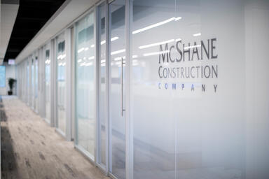 Partition wall shown in ViviGraphix Gradiance glass with custom graphic