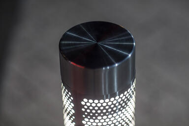 Detail of Custom Light Column Bollard in Stainless Steel with Satin finish