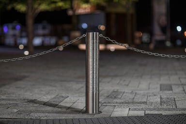 Custom Light Column Bollard in Stainless Steel with Satin finish shown