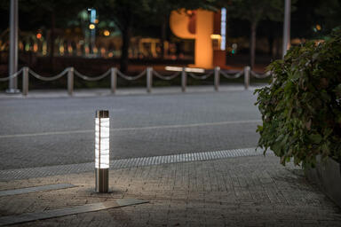 Custom Light Column Bollard in Stainless Steel with Satin finish