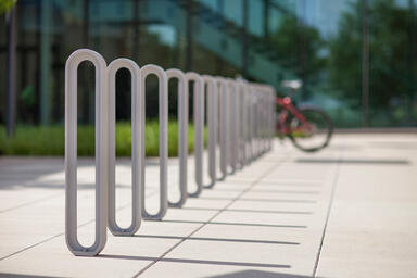 Olympia Bike Racks shown with Aluminum Texture powdercoat