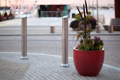Light Column Bollards in Stainless Steel with Satin finish shown with custom