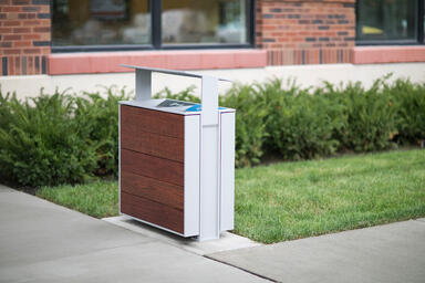 Apex Litter & Recycling Receptacle shown in 36 gallon, split-stream