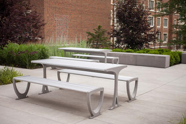 Trio Table Ensembles shown with Aluminum Texture powdercoated frames