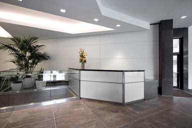 LEVELe Wall Cladding System with Capture panels shown on a reception desk