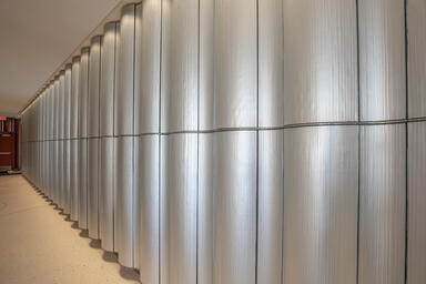 Feature wall with BermanGlass Levels Kiln Cast Glass in Hikaru texture + custom