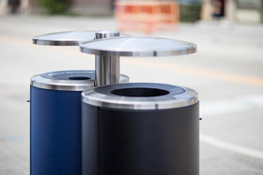 Custom 30-gallon pole-mount Litter and Recycling Receptacles