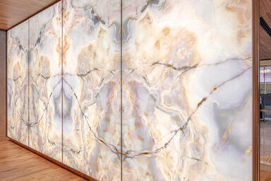 LightPlane Panels in ViviStone Opal Onyx glass with Pearlex finish at Puravankar