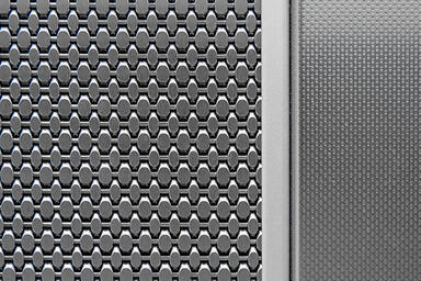 Detail of LEVELc-2000 Elevator Interior: panel in Linq Woven Metal with Sum Cros