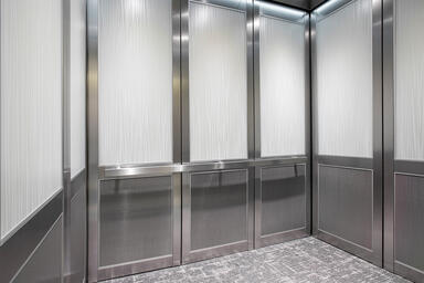 LEVELc-2000 Elevator Interior with upper panels in ViviGraphix Graphica glass wi