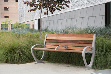 Trio Bench shown in 6 foot, backed configuration with Aluminum Texture