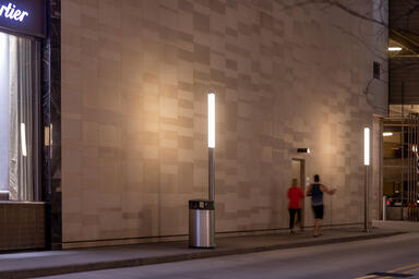 Light Column Pedestrian Lighting in Stainless Steel with Satin finish shown with