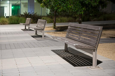 Knight Benches shown in 6 foot, surface mount, backed configuration