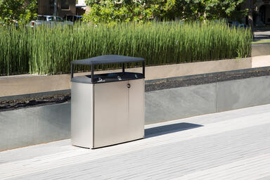 Transit Litter & Recycling Receptacle shown in tri-stream configuration