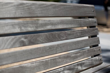 Detail of Knight Bench FSC® 100% Ipé hardwood slats