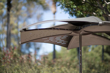 Detail of Soleris Sunshade aluminum panels shown with Slat perforation pattern