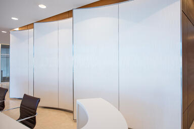 Wall panels in Bonded Quartz, White, with Kalahari pattern at Saraya Twin Towers