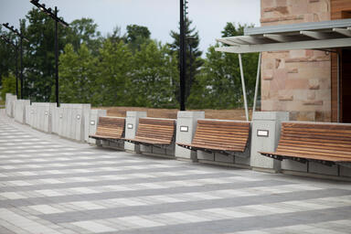 Custom Benches with Aluminum Texture powdercoated frames and FSC® 100% Ipé