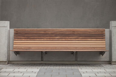 Custom Bench with Aluminum Texture powdercoated frame and FSC® 100% Ipé