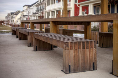 Hudson Benches shown in 6 foot, surface mount configuration with FSC 100% Ipé