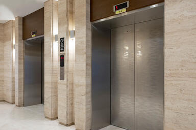 Elevator doors shown in Stainless Steel with Mirror finish and custom Eco-Etch