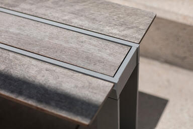 Detail of Apex Bench shown with Silver Texture powdercoated frame and FSC® 100%