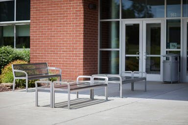 Ratio Benches shown in backed and backless configurations with Aluminum Texture
