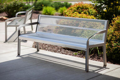 Ratio Benches shown in backed configuration with Aluminum Texture powdercoated