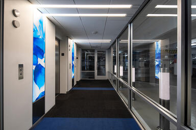 LightPlane Panels in ViviSpectra Zoom glass with Azure Glass interlayer and Pear