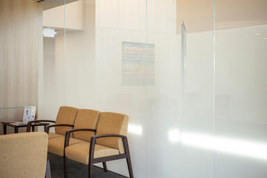 Partition wall in ViviGraphix Gradiance glass with Scatter interlayer