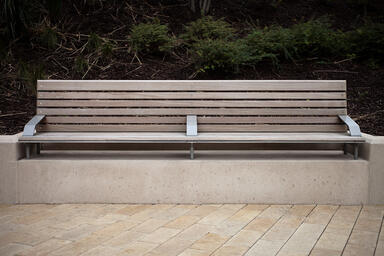 Knight Bench in 8-foot, backed configuration with Aluminum Texture powdercoated