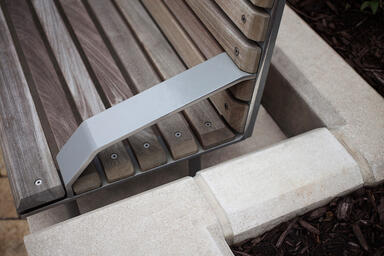 Detail of Knight Bench in backed configuration with Aluminum Texture powdercoat