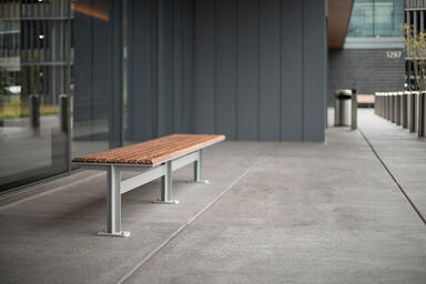 Knight Bench shown in 8 foot, backless configuration with Silver Texture